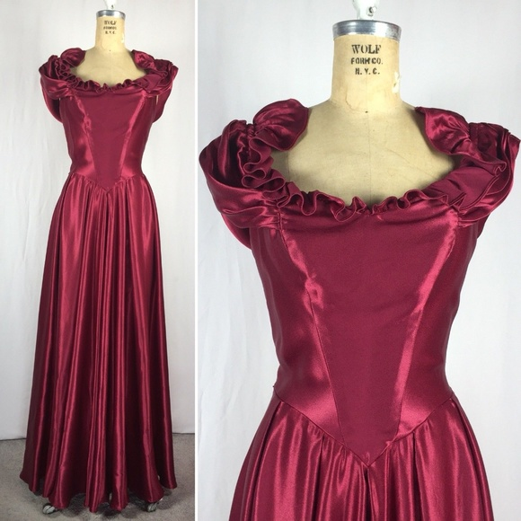 34dc683add1 70 s JCPenney Red Satin Ruffled Prom Pageant Gown.  M 5b636a1c4ab633d86b33948e